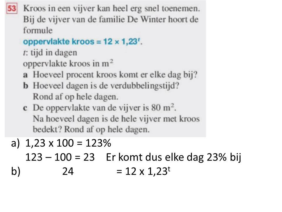 a)1,23 x 100 = 123% 123 – 100 = 23 Er komt dus elke dag 23% bij b) 24 = 12 x 1,23 t