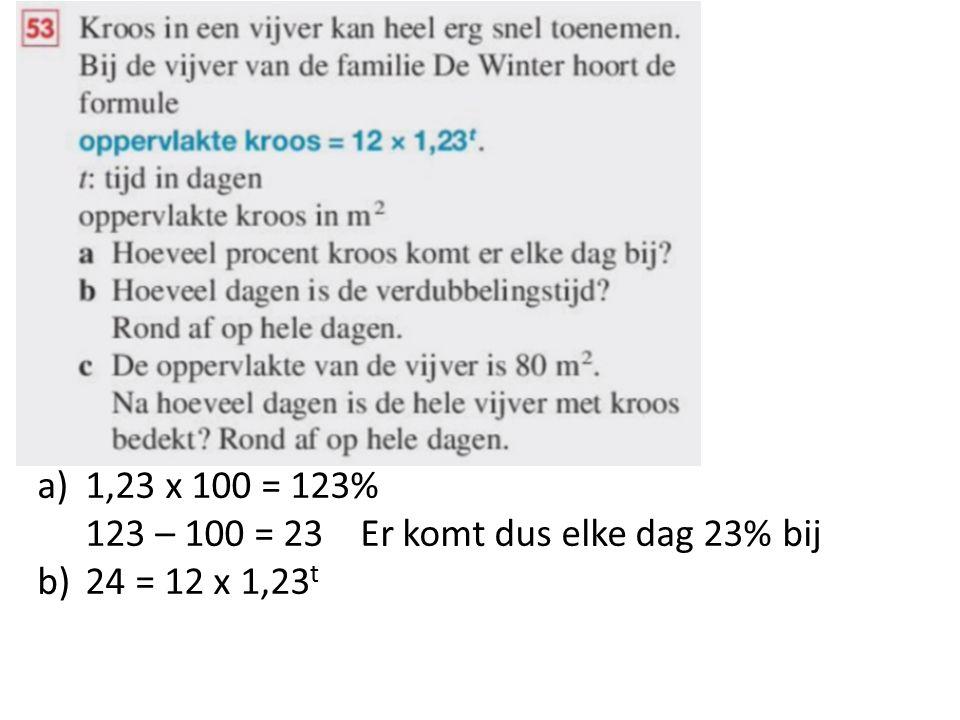 a)1,23 x 100 = 123% 123 – 100 = 23 Er komt dus elke dag 23% bij b)24 = 12 x 1,23 t