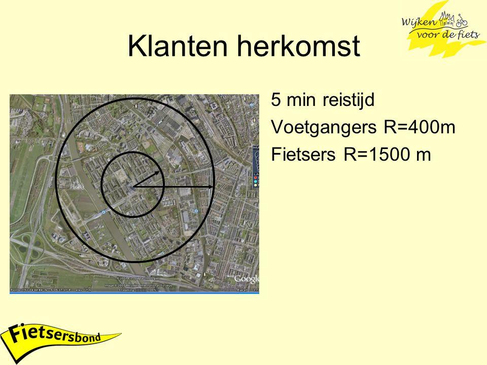 Klanten herkomst 5 min reistijd Voetgangers R=400m Fietsers R=1500 m