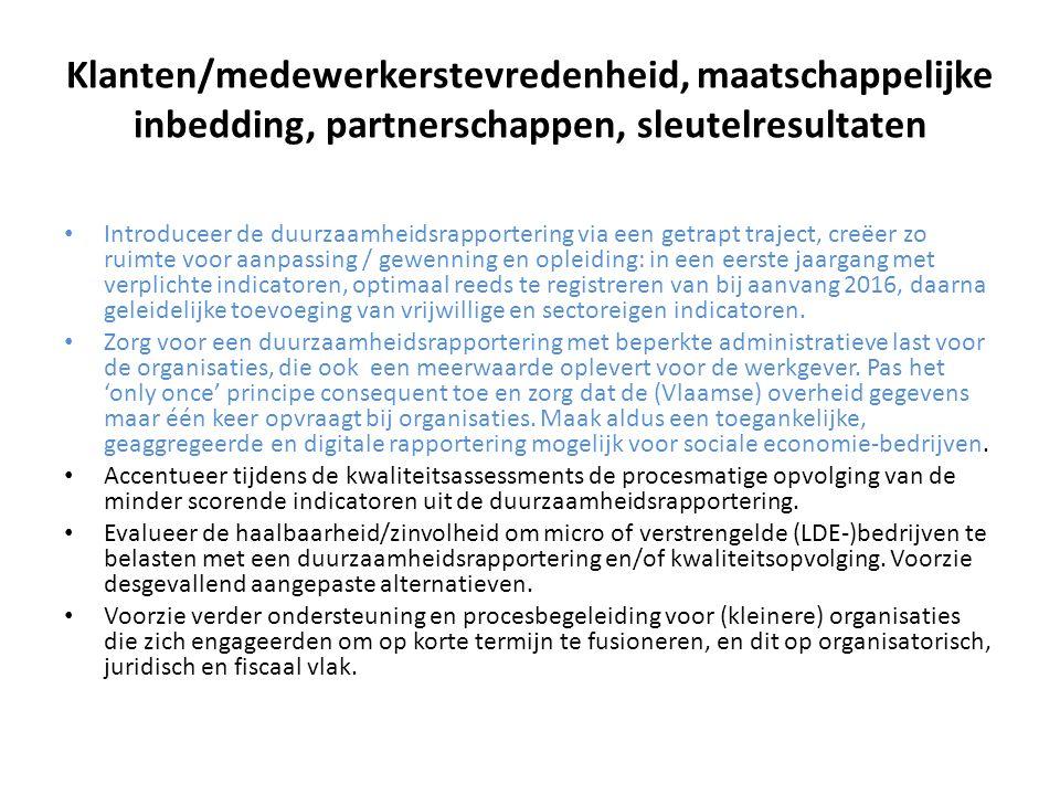Klanten/medewerkerstevredenheid, maatschappelijke inbedding, partnerschappen, sleutelresultaten Introduceer de duurzaamheidsrapportering via een getra