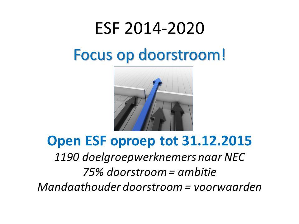 ESF 2014-2020 Focus op doorstroom! Open ESF oproep tot 31.12.2015 1190 doelgroepwerknemers naar NEC 75% doorstroom = ambitie Mandaathouder doorstroom
