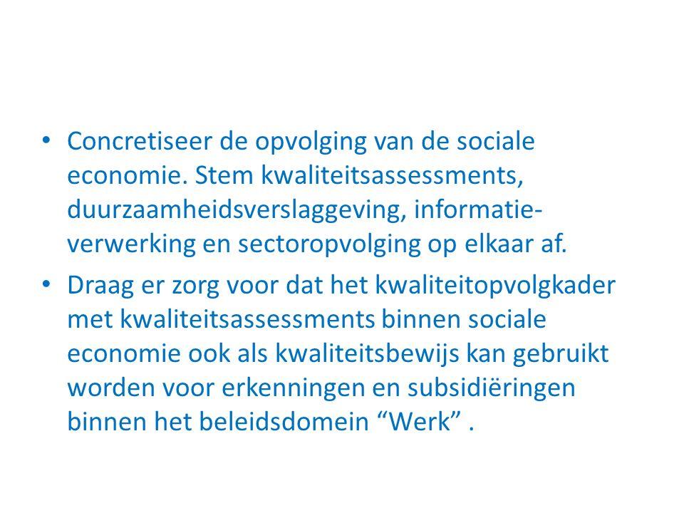 Concretiseer de opvolging van de sociale economie. Stem kwaliteitsassessments, duurzaamheidsverslaggeving, informatie- verwerking en sectoropvolging o