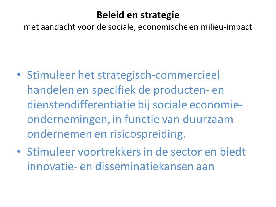 Beleid en strategie met aandacht voor de sociale, economische en milieu-impact Stimuleer het strategisch-commercieel handelen en specifiek de producte