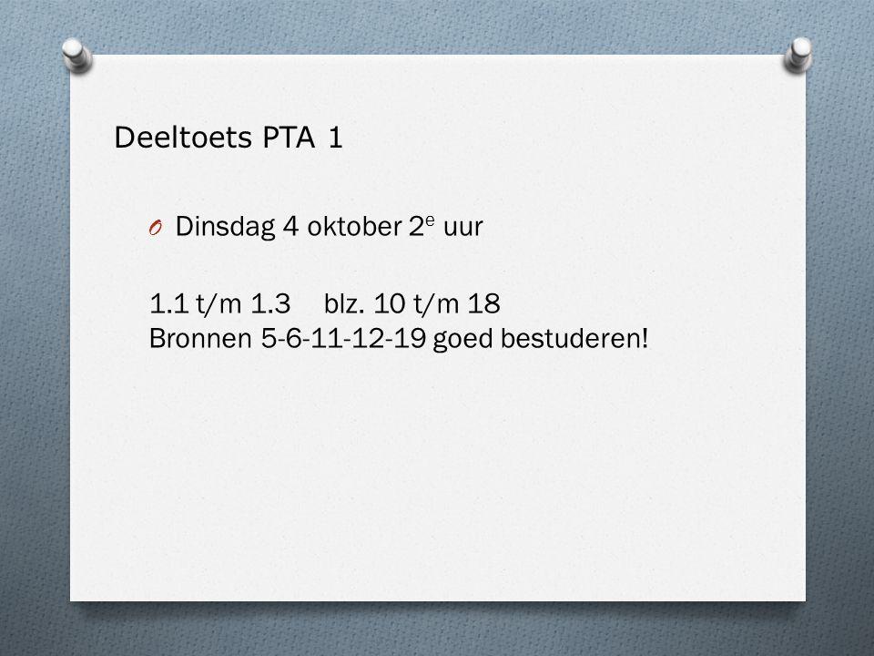 Deeltoets PTA 1 O Dinsdag 4 oktober 2 e uur 1.1 t/m 1.3 blz.