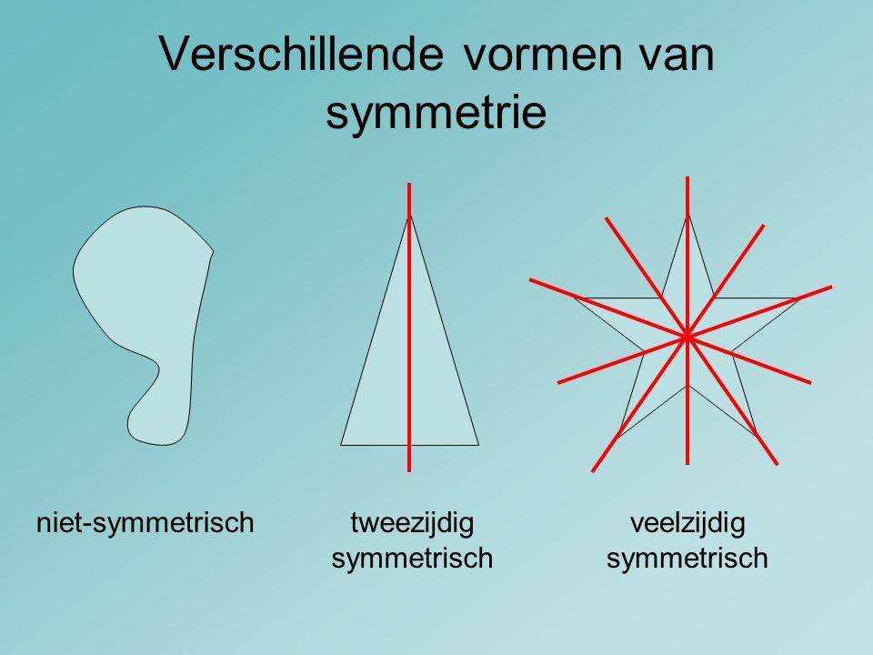 Verschillende vormen van symmetrie niet-symmetrischtweezijdig symmetrisch veelzijdig symmetrisch