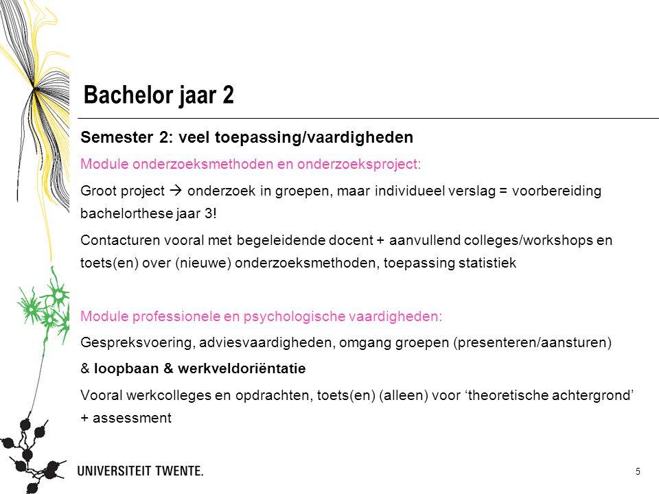 5 Bachelor jaar 2 Semester 2: veel toepassing/vaardigheden Module onderzoeksmethoden en onderzoeksproject: Groot project  onderzoek in groepen, maar