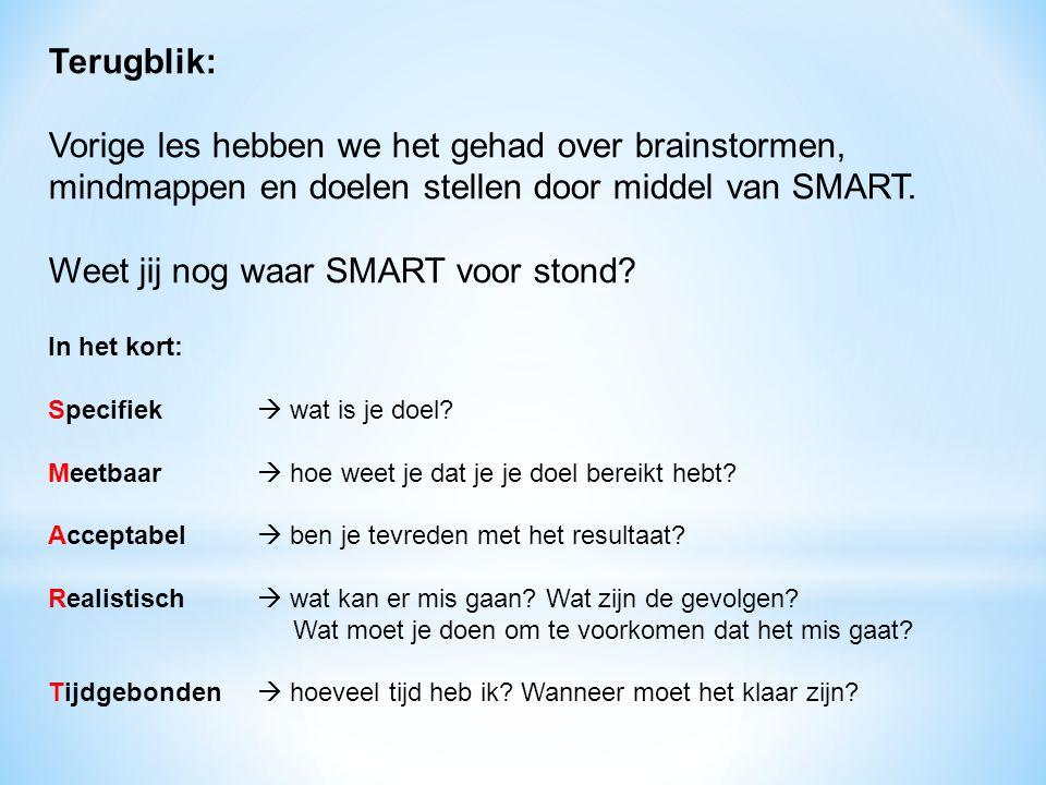 Terugblik: Vorige les hebben we het gehad over brainstormen, mindmappen en doelen stellen door middel van SMART. Weet jij nog waar SMART voor stond? I