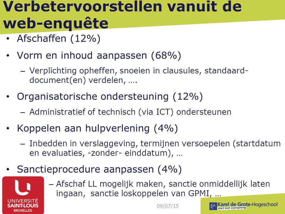 Verbetervoorstellen vanuit de web-enquête Afschaffen (12%) Vorm en inhoud aanpassen (68%) – Verplichting opheffen, snoeien in clausules, standaard- document(en) verdelen, ….
