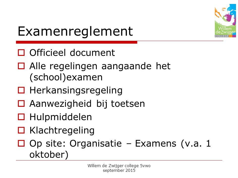 Examenreglement  Officieel document  Alle regelingen aangaande het (school)examen  Herkansingsregeling  Aanwezigheid bij toetsen  Hulpmiddelen  Klachtregeling  Op site: Organisatie – Examens (v.a.