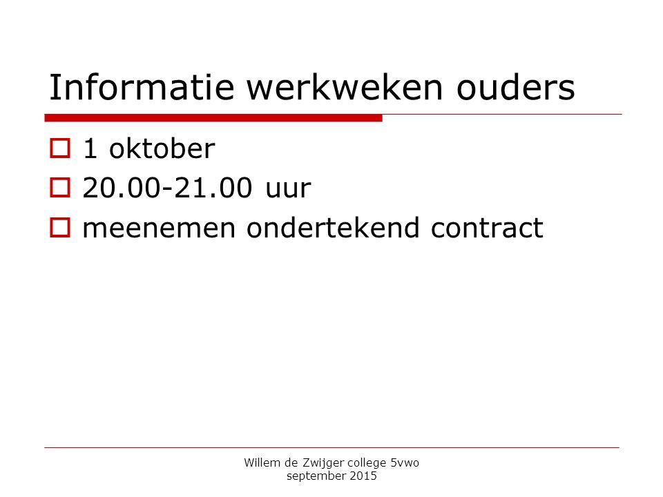 Informatie werkweken ouders  1 oktober  20.00-21.00 uur  meenemen ondertekend contract Willem de Zwijger college 5vwo september 2015