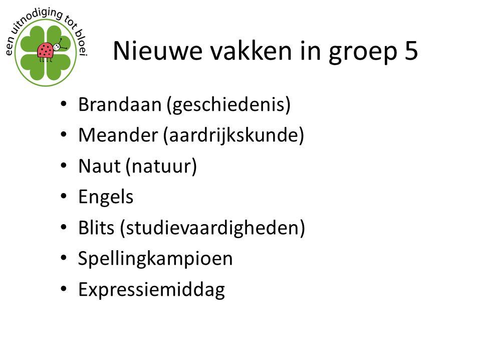 Nieuwe vakken in groep 5 Brandaan (geschiedenis) Meander (aardrijkskunde) Naut (natuur) Engels Blits (studievaardigheden) Spellingkampioen Expressiemi