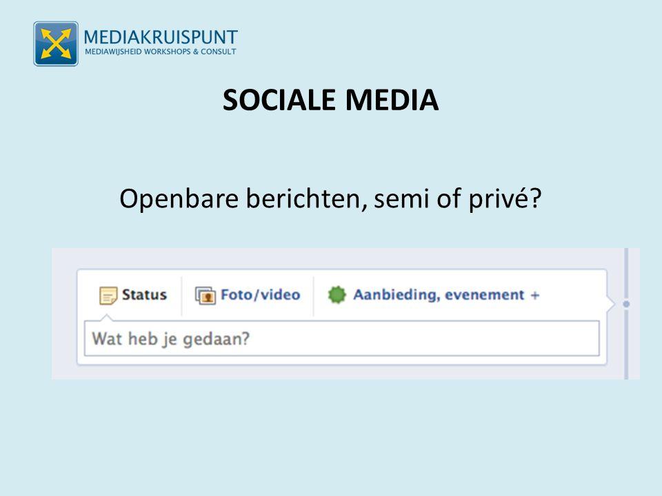 SOCIALE MEDIA Openbare berichten, semi of privé