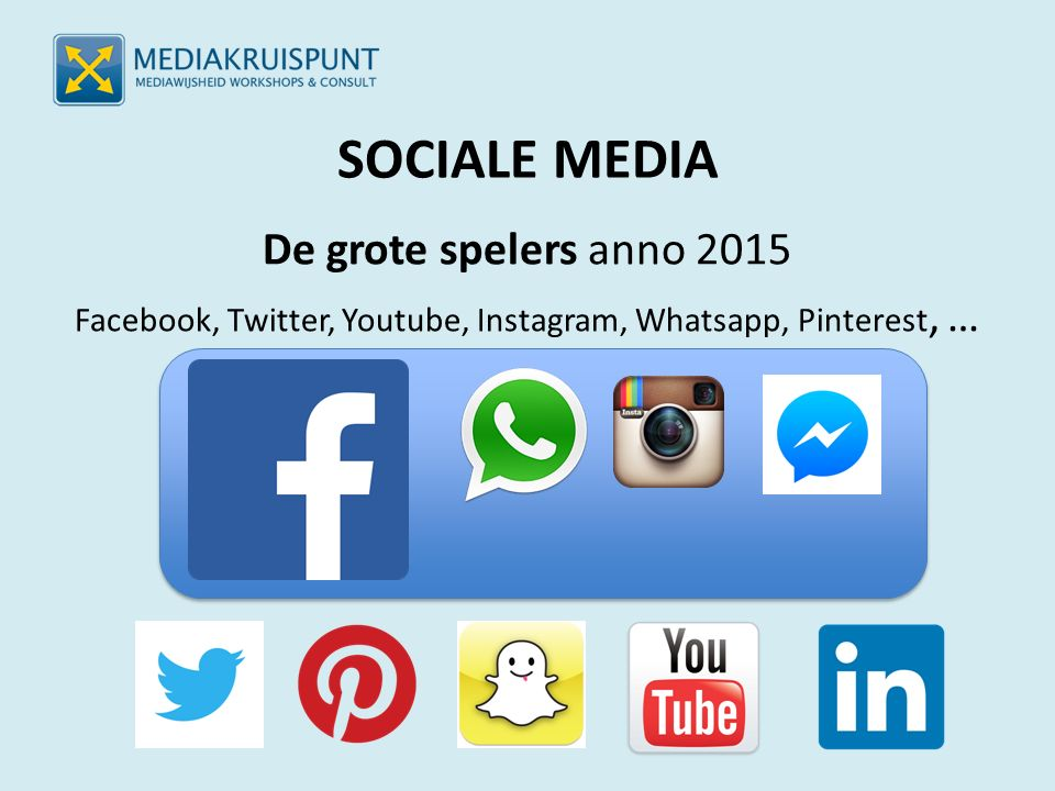SOCIALE MEDIA De grote spelers anno 2015 Facebook, Twitter, Youtube, Instagram, Whatsapp, Pinterest, …