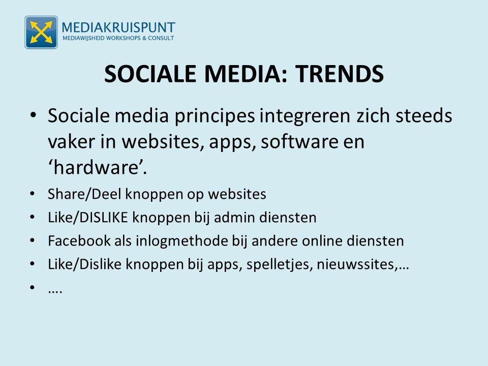 SOCIALE MEDIA: TRENDS Sociale media principes integreren zich steeds vaker in websites, apps, software en 'hardware'. Share/Deel knoppen op websites L