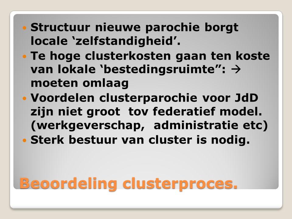 Verdere ontwikkeling Doorgaan met voorbereiding clusterparochie.
