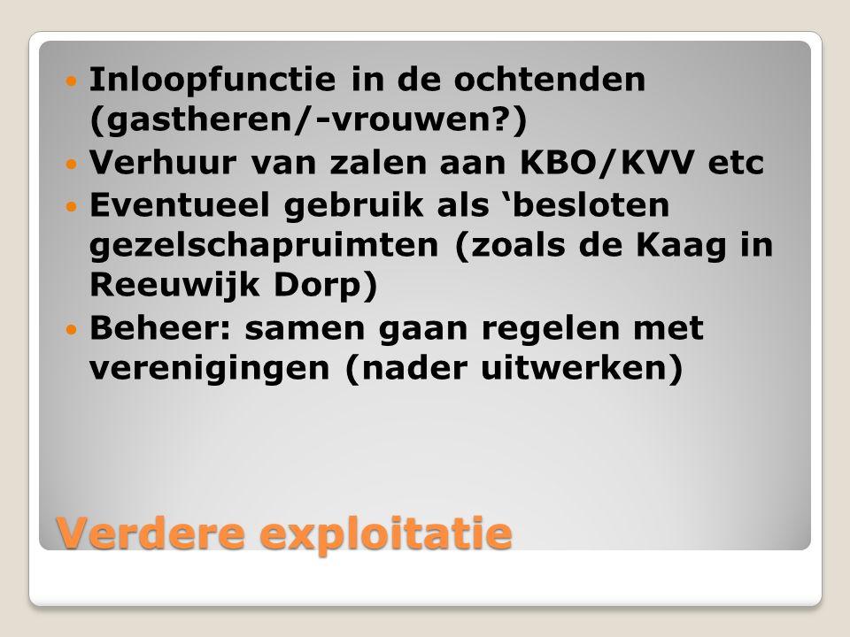 Verdere exploitatie Inloopfunctie in de ochtenden (gastheren/-vrouwen?) Verhuur van zalen aan KBO/KVV etc Eventueel gebruik als 'besloten gezelschapru