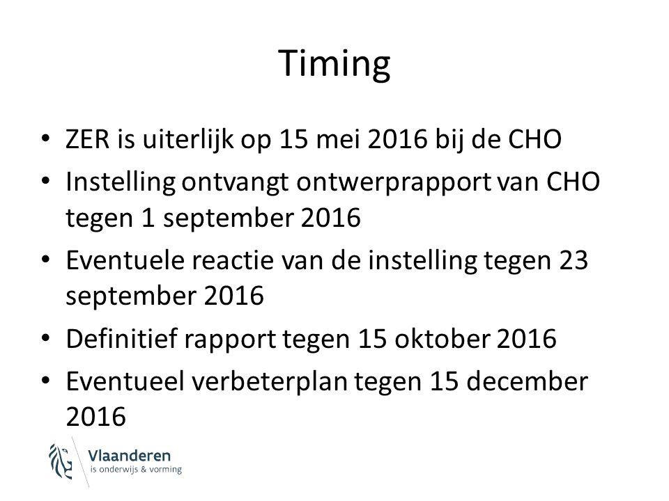 Timing ZER is uiterlijk op 15 mei 2016 bij de CHO Instelling ontvangt ontwerprapport van CHO tegen 1 september 2016 Eventuele reactie van de instelling tegen 23 september 2016 Definitief rapport tegen 15 oktober 2016 Eventueel verbeterplan tegen 15 december 2016
