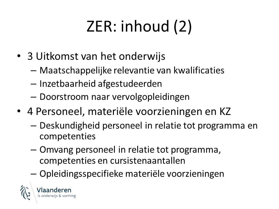 ZER: inhoud (3) 4 Personeel, materiële voorzieningen en KZ (vervolg) – Beleid en procedures in verband met kwaliteitszorg Welke recente verbeteracties.