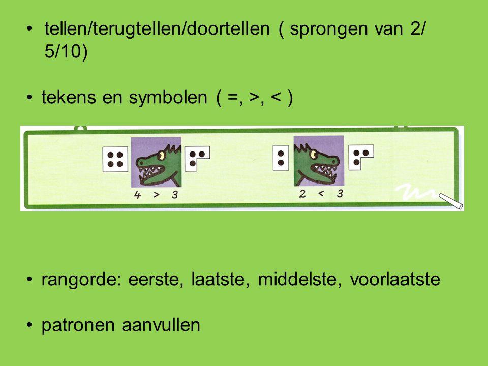 tellen/terugtellen/doortellen ( sprongen van 2/ 5/10) tekens en symbolen ( =, >, < ) rangorde: eerste, laatste, middelste, voorlaatste patronen aanvullen