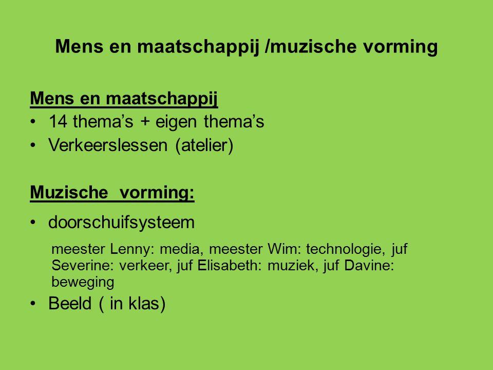 Mens en maatschappij /muzische vorming Mens en maatschappij 14 thema's + eigen thema's Verkeerslessen (atelier) Muzische vorming: doorschuifsysteem me