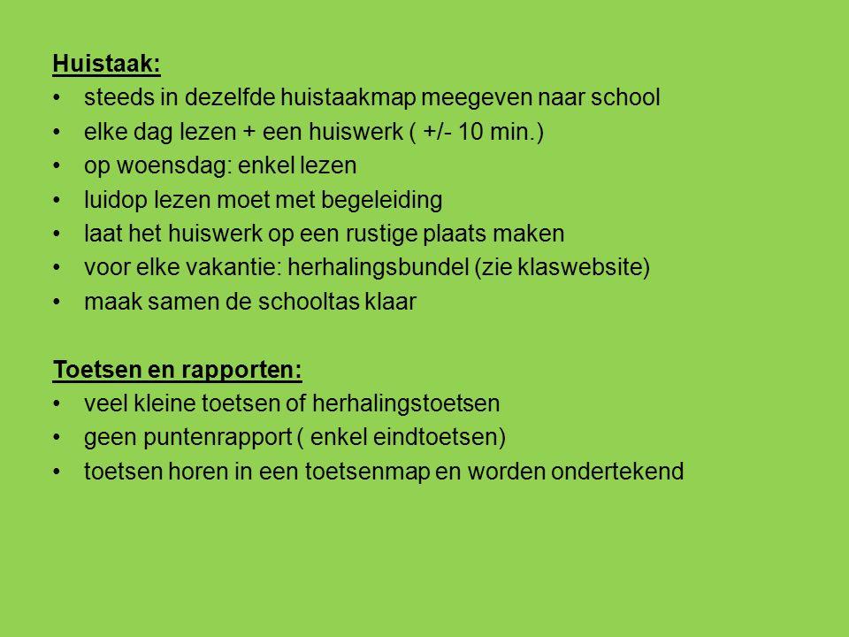 Huistaak: steeds in dezelfde huistaakmap meegeven naar school elke dag lezen + een huiswerk ( +/- 10 min.) op woensdag: enkel lezen luidop lezen moet