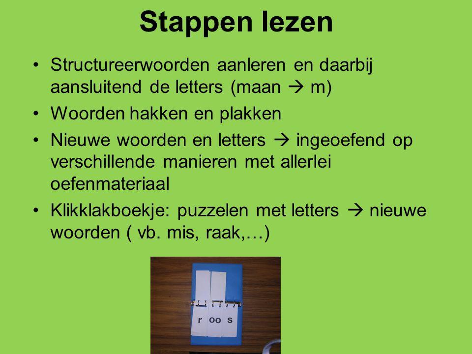 Stappen lezen Structureerwoorden aanleren en daarbij aansluitend de letters (maan  m) Woorden hakken en plakken Nieuwe woorden en letters  ingeoefen