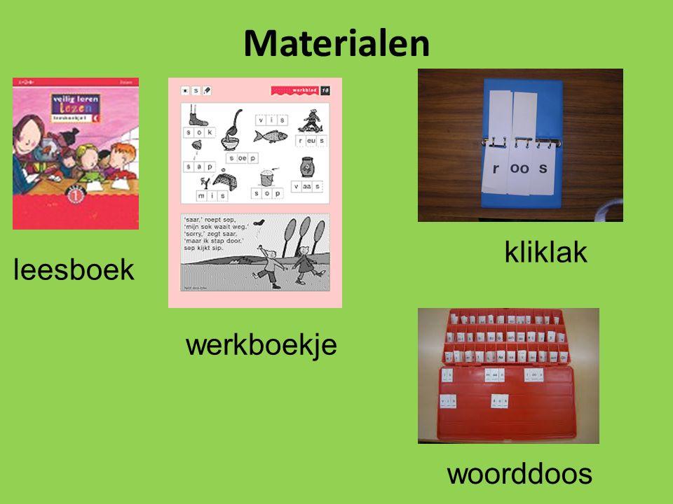 Materialen leesboek werkboekje kliklak woorddoos