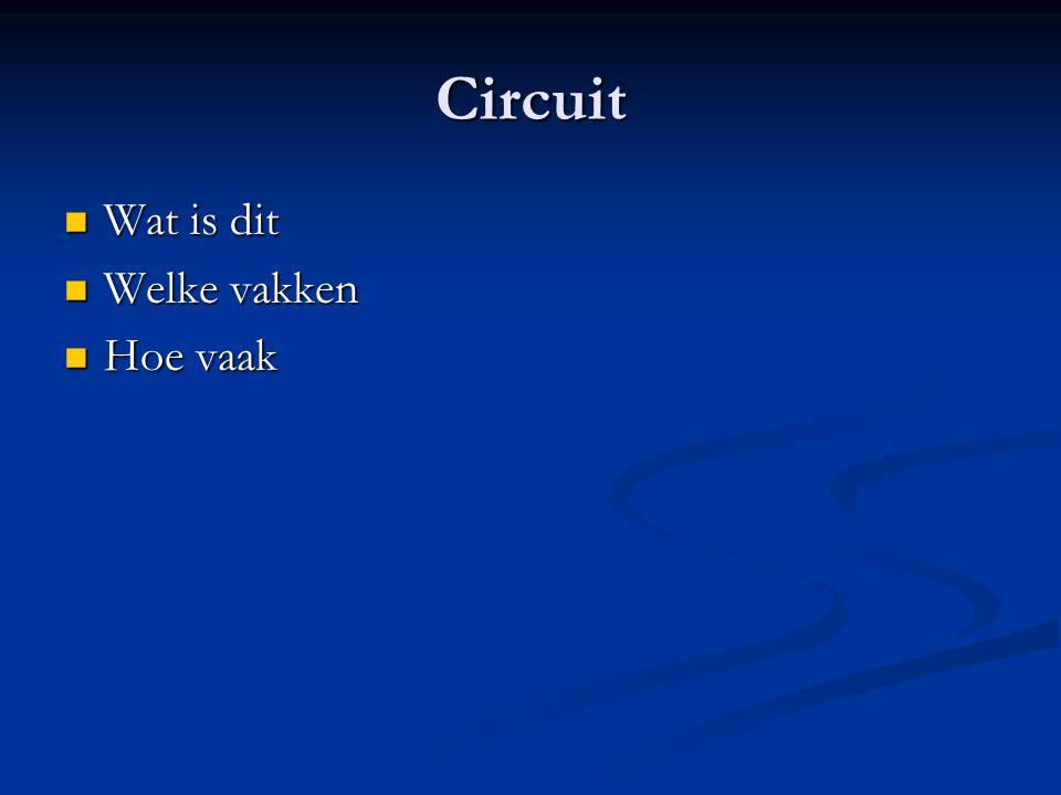 Circuit Wat is dit Wat is dit Welke vakken Welke vakken Hoe vaak Hoe vaak