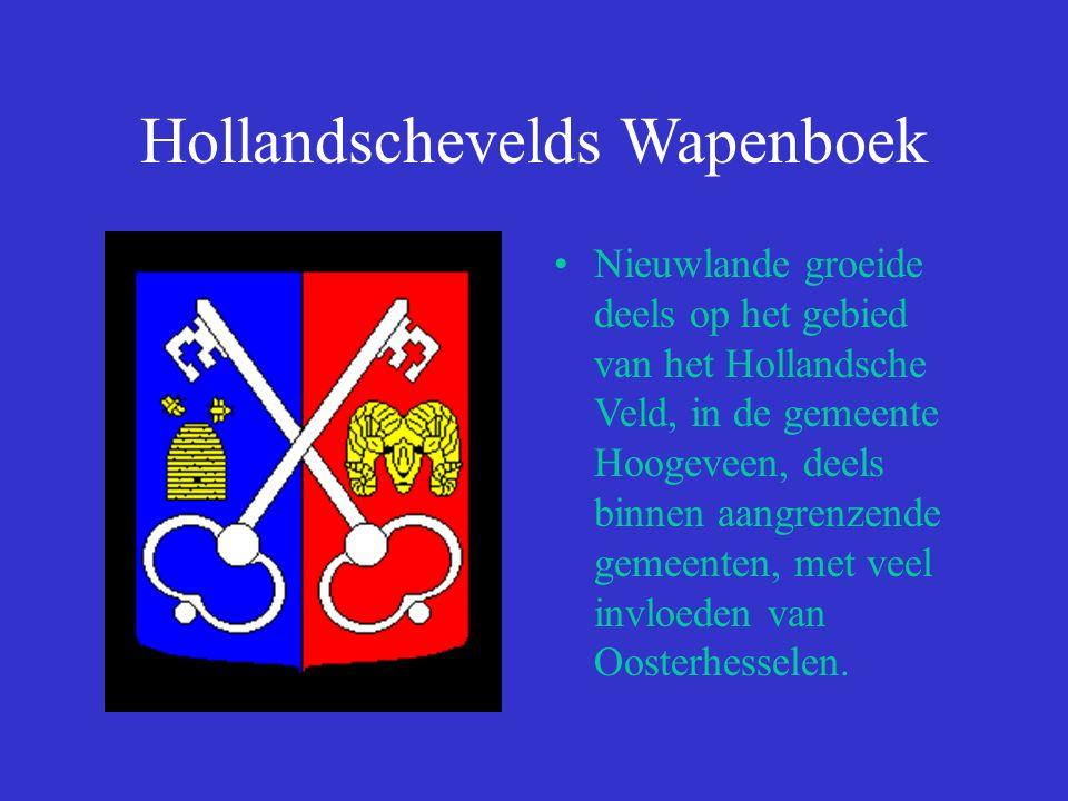 Hollandschevelds Wapenboek Nieuwlande groeide deels op het gebied van het Hollandsche Veld, in de gemeente Hoogeveen, deels binnen aangrenzende gemeenten, met veel invloeden van Oosterhesselen.