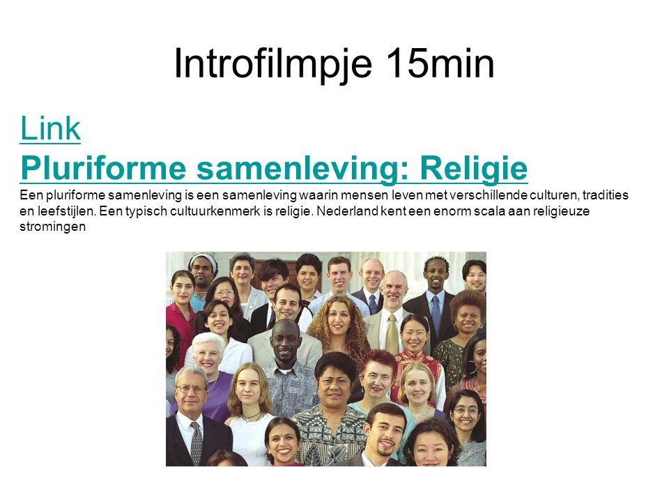 Introfilmpje 15min Link Pluriforme samenleving: Religie Een pluriforme samenleving is een samenleving waarin mensen leven met verschillende culturen,