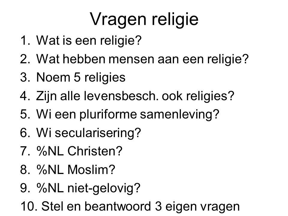 Vragen religie 1.Wat is een religie? 2.Wat hebben mensen aan een religie? 3.Noem 5 religies 4.Zijn alle levensbesch. ook religies? 5.Wi een pluriforme