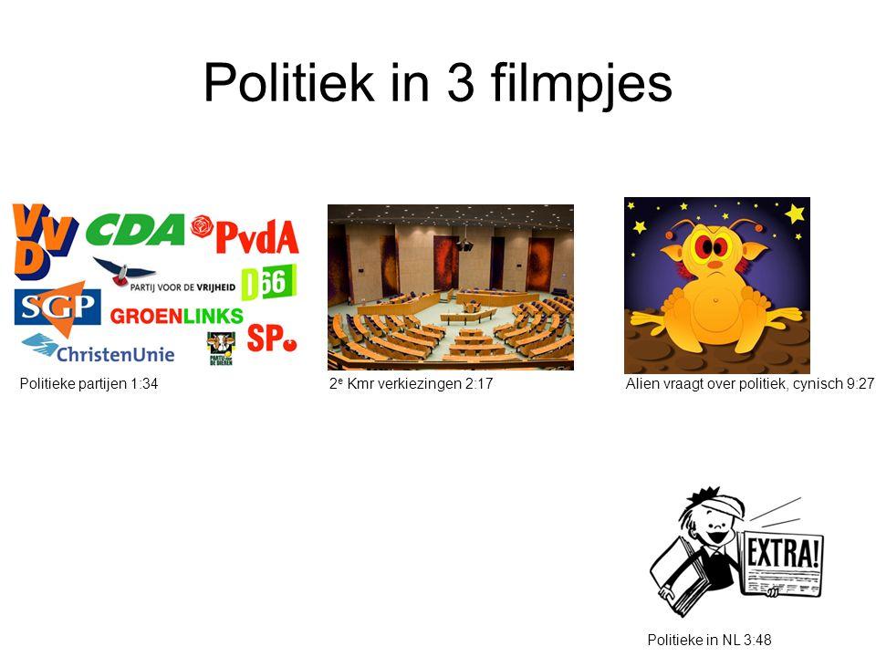 Politiek in 3 filmpjes Politieke partijen 1:342 e Kmr verkiezingen 2:17Alien vraagt over politiek, cynisch 9:27 Politieke in NL 3:48