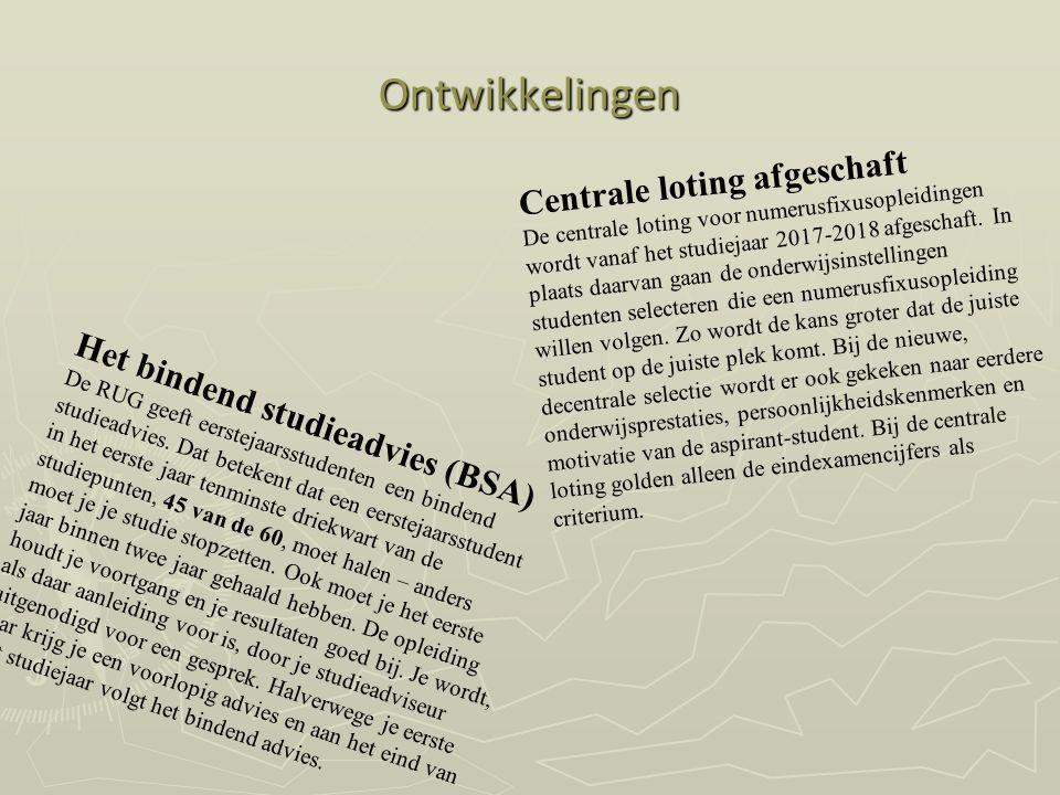 Ontwikkelingen Centrale loting afgeschaft De centrale loting voor numerusfixusopleidingen wordt vanaf het studiejaar 2017-2018 afgeschaft. In plaats d