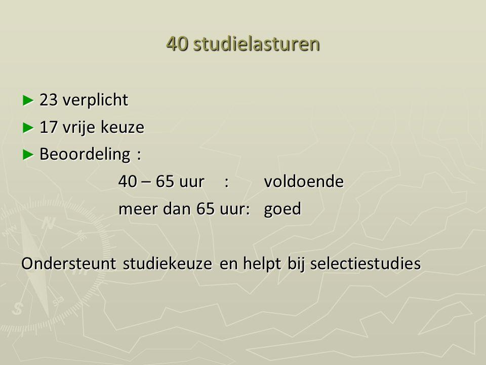 40 studielasturen ► 23 verplicht ► 17 vrije keuze ► Beoordeling : 40 – 65 uur : voldoende meer dan 65 uur:goed Ondersteunt studiekeuze en helpt bij se