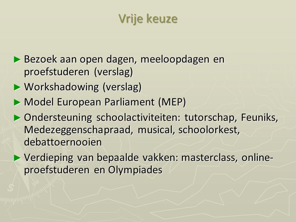 Vrije keuze ► Bezoek aan open dagen, meeloopdagen en proefstuderen (verslag) ► Workshadowing (verslag) ► Model European Parliament (MEP) ► Ondersteuni