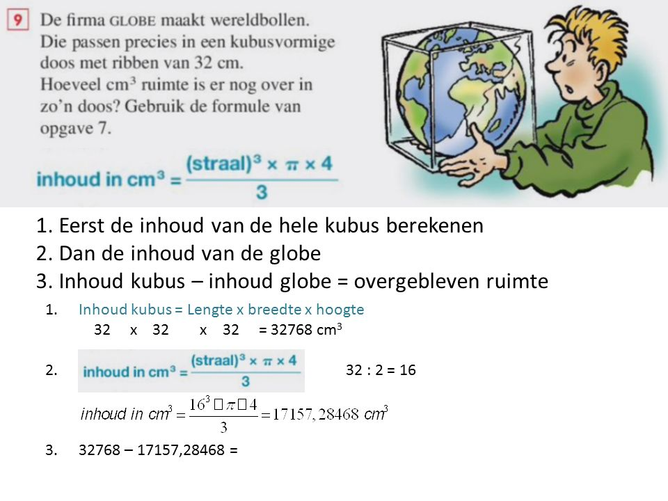 1.Eerst de inhoud van de hele kubus berekenen 2. Dan de inhoud van de globe 3.