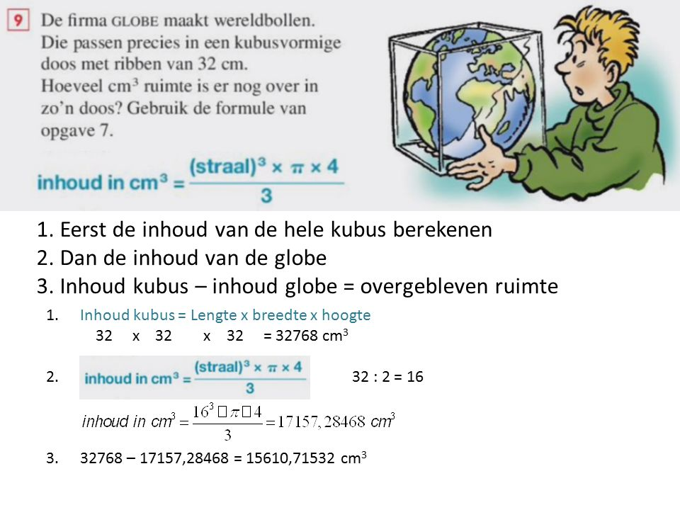 1. Eerst de inhoud van de hele kubus berekenen 2.