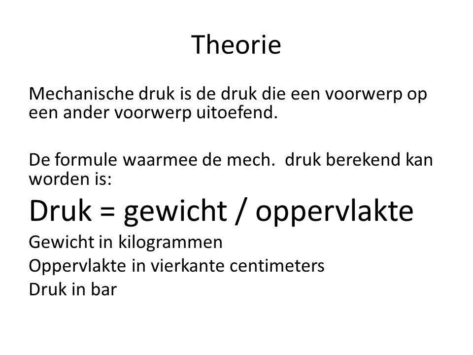 Theorie -> Formule Druk = gewicht/oppervlakte 1 bar = 1 kg / 1 cm 2 2 bar = 4 kg / 2 cm 2