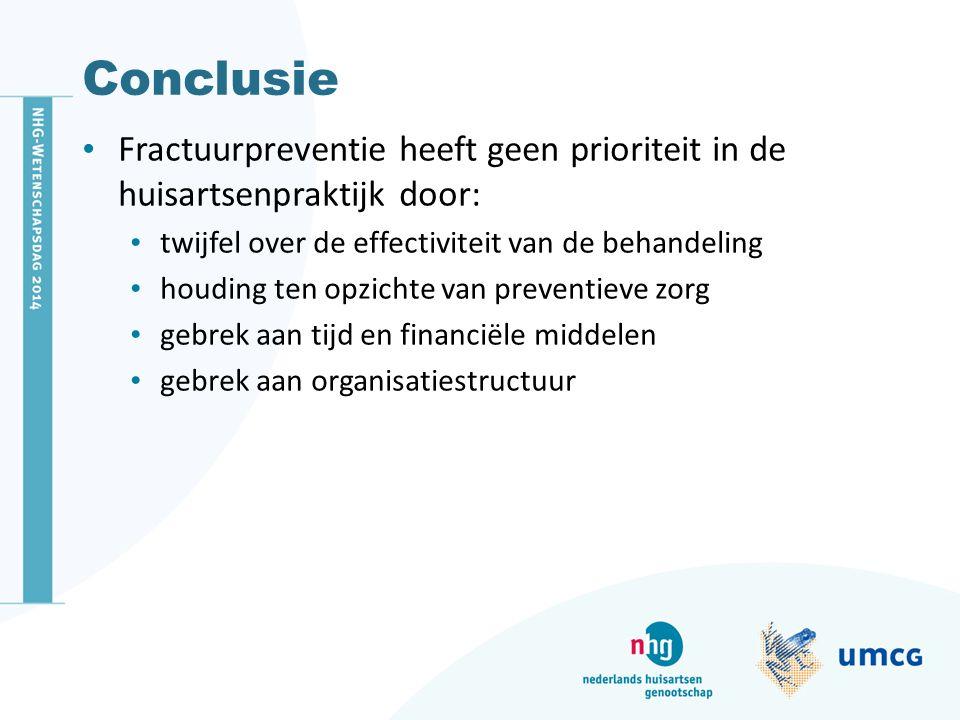 Conclusie Fractuurpreventie heeft geen prioriteit in de huisartsenpraktijk door: twijfel over de effectiviteit van de behandeling houding ten opzichte van preventieve zorg gebrek aan tijd en financiële middelen gebrek aan organisatiestructuur