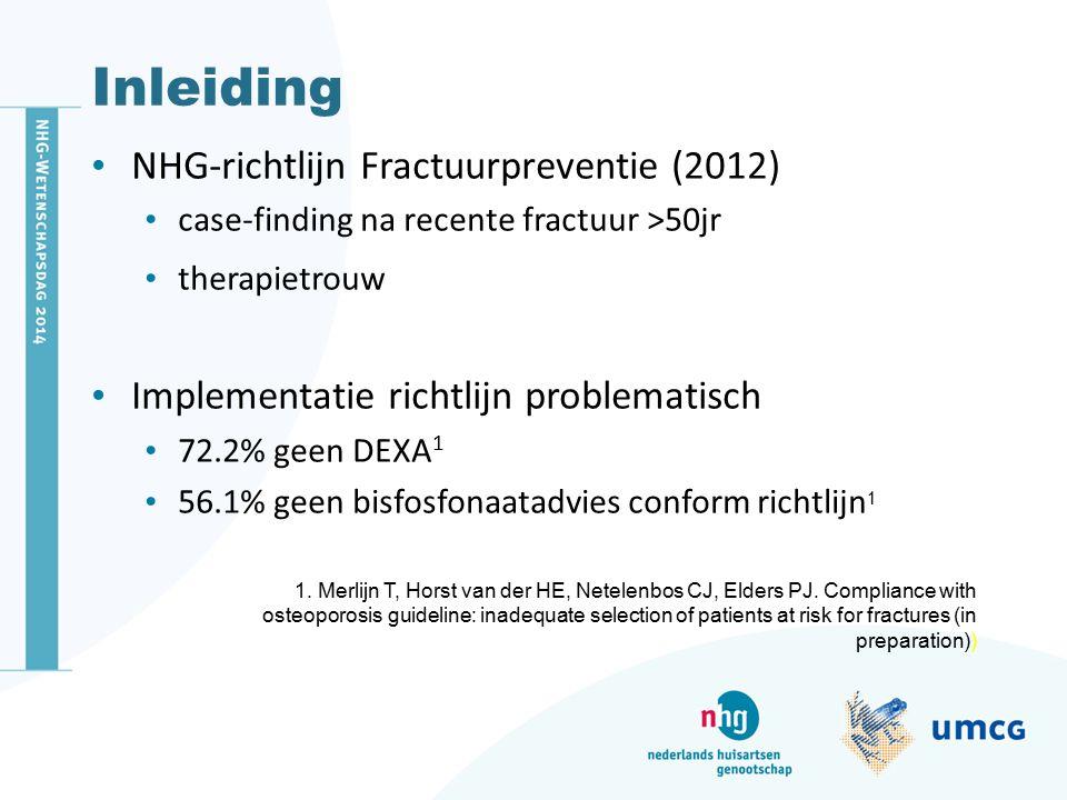 Inleiding NHG-richtlijn Fractuurpreventie (2012) case-finding na recente fractuur >50jr therapietrouw Implementatie richtlijn problematisch 72.2% geen DEXA 1 56.1% geen bisfosfonaatadvies conform richtlijn 1 1.