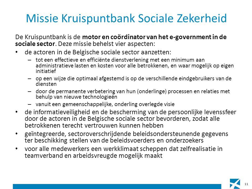 Missie Kruispuntbank Sociale Zekerheid De Kruispuntbank is de motor en coördinator van het e-government in de sociale sector.