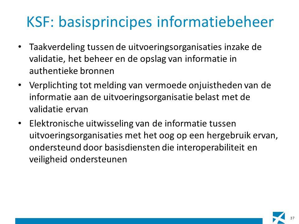 KSF: basisprincipes informatiebeheer Taakverdeling tussen de uitvoeringsorganisaties inzake de validatie, het beheer en de opslag van informatie in authentieke bronnen Verplichting tot melding van vermoede onjuistheden van de informatie aan de uitvoeringsorganisatie belast met de validatie ervan Elektronische uitwisseling van de informatie tussen uitvoeringsorganisaties met het oog op een hergebruik ervan, ondersteund door basisdiensten die interoperabiliteit en veiligheid ondersteunen 37