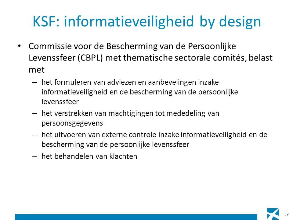 KSF: informatieveiligheid by design Commissie voor de Bescherming van de Persoonlijke Levenssfeer (CBPL) met thematische sectorale comités, belast met – het formuleren van adviezen en aanbevelingen inzake informatieveiligheid en de bescherming van de persoonlijke levenssfeer – het verstrekken van machtigingen tot mededeling van persoonsgegevens – het uitvoeren van externe controle inzake informatieveiligheid en de bescherming van de persoonlijke levenssfeer – het behandelen van klachten 39