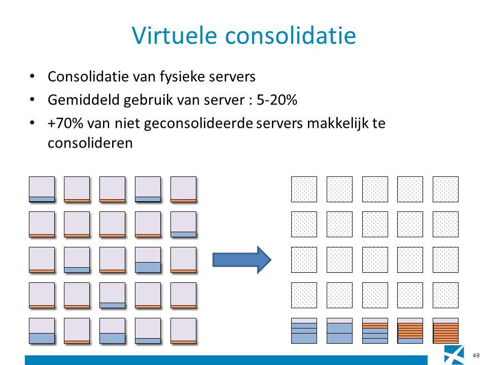 Virtuele consolidatie Consolidatie van fysieke servers Gemiddeld gebruik van server : 5-20% +70% van niet geconsolideerde servers makkelijk te consolideren 49