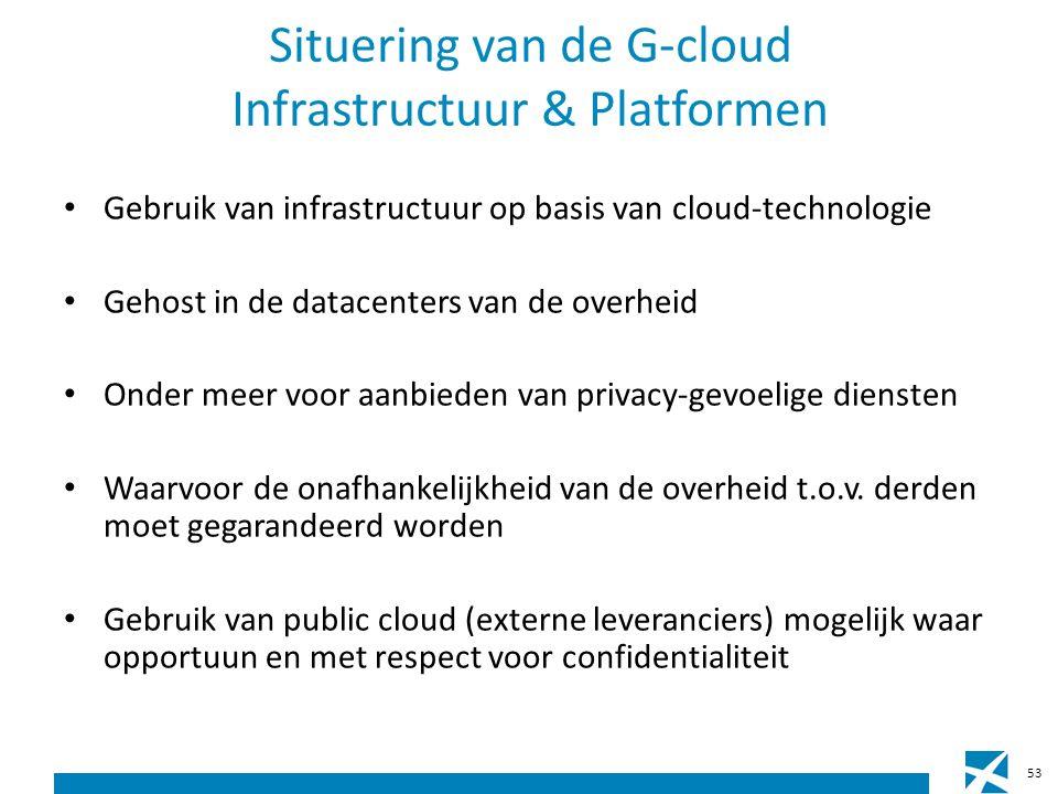 Situering van de G-cloud Infrastructuur & Platformen Gebruik van infrastructuur op basis van cloud-technologie Gehost in de datacenters van de overheid Onder meer voor aanbieden van privacy-gevoelige diensten Waarvoor de onafhankelijkheid van de overheid t.o.v.