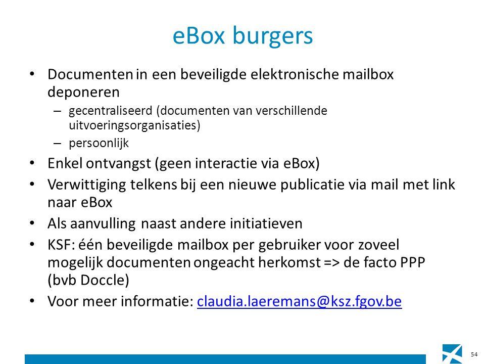 eBox burgers Documenten in een beveiligde elektronische mailbox deponeren – gecentraliseerd (documenten van verschillende uitvoeringsorganisaties) – persoonlijk Enkel ontvangst (geen interactie via eBox) Verwittiging telkens bij een nieuwe publicatie via mail met link naar eBox Als aanvulling naast andere initiatieven KSF: één beveiligde mailbox per gebruiker voor zoveel mogelijk documenten ongeacht herkomst => de facto PPP (bvb Doccle) Voor meer informatie: claudia.laeremans@ksz.fgov.beclaudia.laeremans@ksz.fgov.be 54