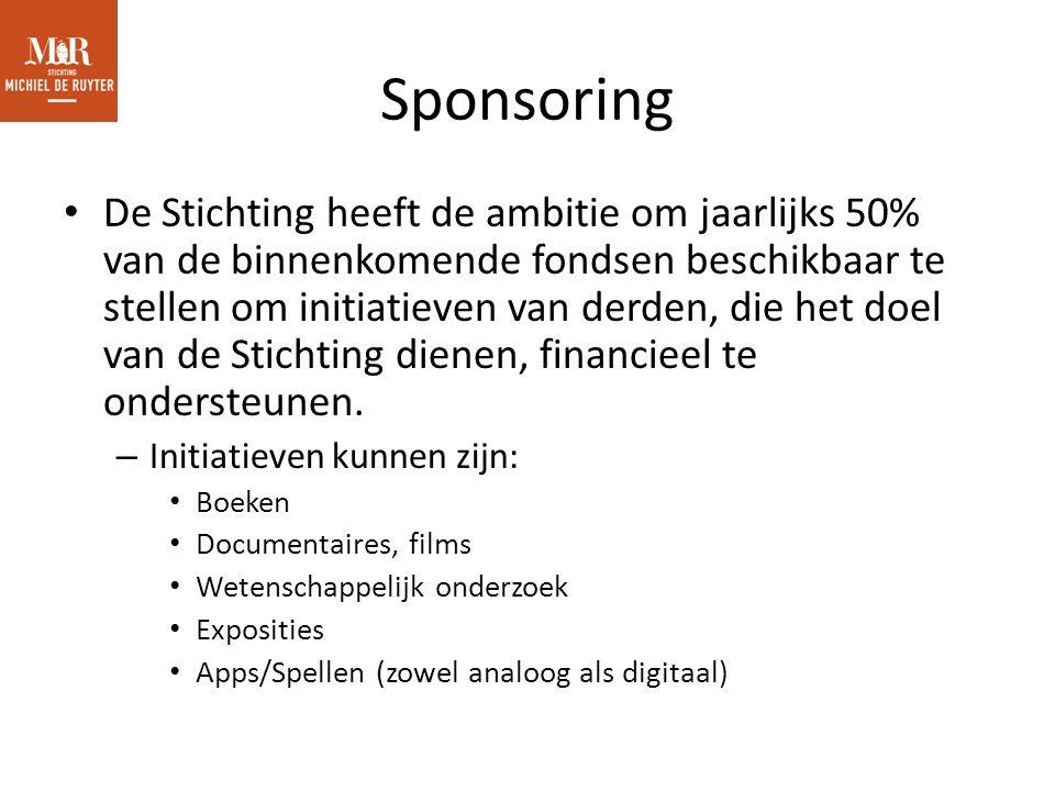 Sponsoring De Stichting heeft de ambitie om jaarlijks 50% van de binnenkomende fondsen beschikbaar te stellen om initiatieven van derden, die het doel van de Stichting dienen, financieel te ondersteunen.