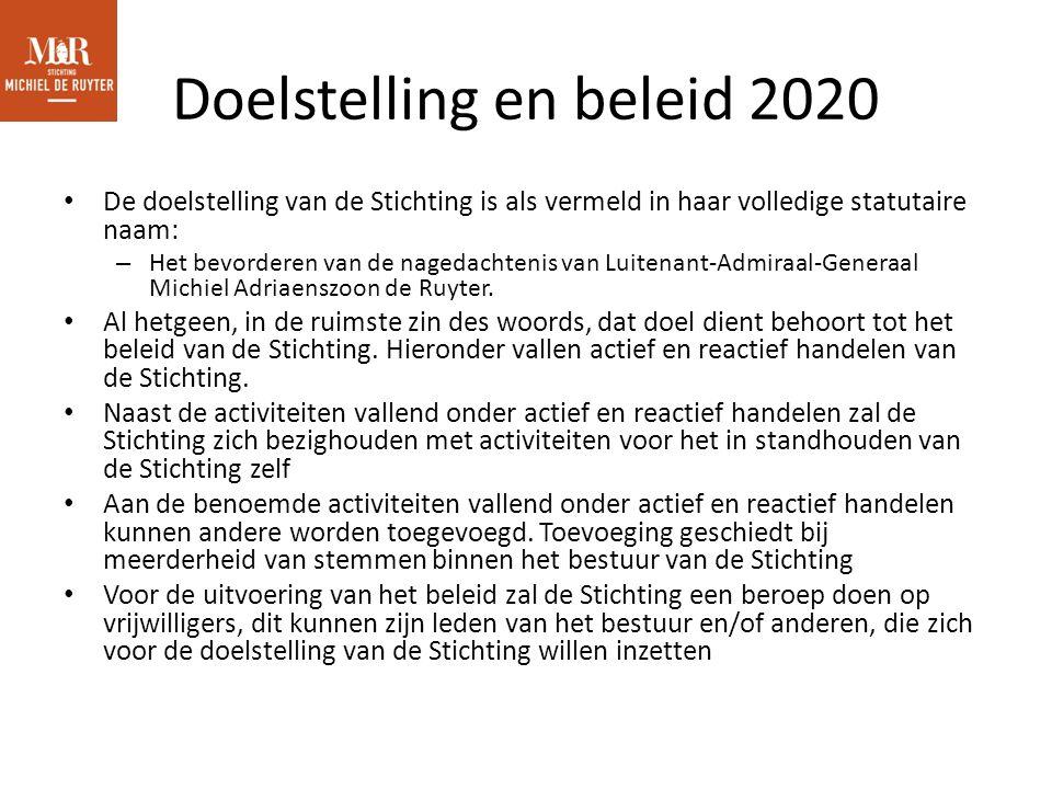 Doelstelling en beleid 2020 De doelstelling van de Stichting is als vermeld in haar volledige statutaire naam: – Het bevorderen van de nagedachtenis van Luitenant-Admiraal-Generaal Michiel Adriaenszoon de Ruyter.