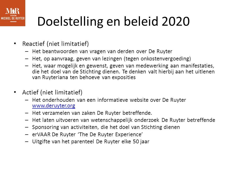 Doelstelling en beleid 2020 Reactief (niet limitatief) – Het beantwoorden van vragen van derden over De Ruyter – Het, op aanvraag, geven van lezingen (tegen onkostenvergoeding) – Het, waar mogelijk en gewenst, geven van medewerking aan manifestaties, die het doel van de Stichting dienen.