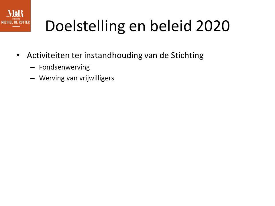 Doelstelling en beleid 2020 Activiteiten ter instandhouding van de Stichting – Fondsenwerving – Werving van vrijwilligers